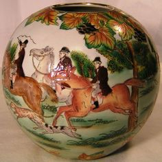 "Beautiful 7"" Ball Vase ""English Fox Hunting Scene All Around""Perfect Horses Dogs in Collectibles, Decorative Collectibles, Vases 