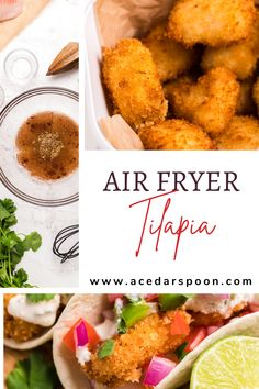 Air Fryer Tilapia is simple to make and creates a tender piece of tilapia with a crispy breaded layer on the outside. This tilapia works perfectly on its on, as a fish fry on a bun with tarter sauce or on Tilapia Fish Tacos! // acedarspoon.com #tilapia #airfryer #seafood #tacos #dinner #fish Best Seafood Recipes, Healthiest Seafood, Shellfish Recipes, Healthy Dinner Recipes, Side Dishes Easy, Side Dish Recipes, Tarter Sauce, Scampi Recipe, Fish Fry