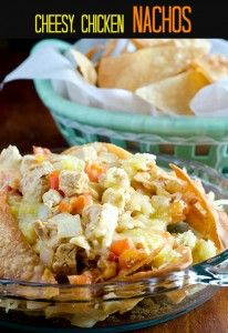 cheesy, chicken nachos