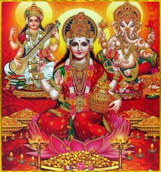 Shri Lakshmi Devi, Saraswati Devi, Ganesh ॐ Artist: Yogendra Rastogi Ganesh Ji Images, Durga Images, Lakshmi Images, Ganesha Pictures, Lord Ganesha Paintings, Lord Shiva Painting, Saraswati Goddess, Goddess Lakshmi, Lakshmi Photos