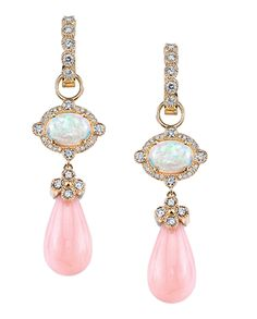 Blush earrings by Erica Courtney featuring yellow gold, diamonds, pink Peruvian…