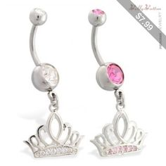 Belly button ring with dangling jeweled tiara crown