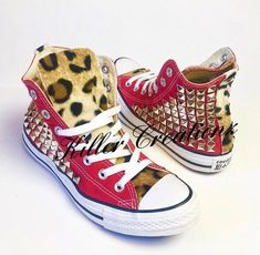 Custom Converse Chuck Taylors studded on BOTH sides with faux leopard fur  -any size and color- (made caffb5c95