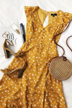 Fashion Tips 101 Fresh Picked Mustard Yellow Floral Print Backless Maxi Dress.Fashion Tips 101 Fresh Picked Mustard Yellow Floral Print Backless Maxi Dress Mode Outfits, Dress Outfits, Fashion Dresses, Casual Dresses, Dresses Dresses, Floral Dresses, Floral Sundress, Wrap Dresses, Bride Dresses