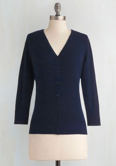 Charter School Cardigan in Navy - Blue, Solid, Buttons, Work, Casual, 3/4 Sleeve, Scholastic/Collegiate, Button Down, Minimal, V Neck, Variation, Pinup, Winter, Basic, Best Seller, Fall, Folk Art, Knit, Mid-length, Blue, 3/4 Sleeve, Nautical, 60s, Americana, Press Placement, Good, 4th of July Sale, As You Wish Sale, Top Rated