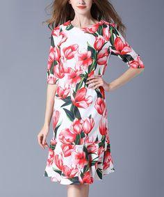 Pink Floral Flare-Hem Midi Dress