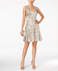 Betsy & Adam Sequin Mesh A-Line Dress