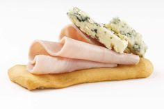 Montadito of Jambon Ham & Blue Cheese with Farinsol (www.farinsol.com) EVOO Crackers.