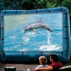 Inflatable Movie Screen $249.00. We would have so much fun with this in the summer.