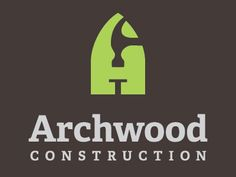 Archwood Construction #logo shows hammer and nail in negative space of letter 'A'
