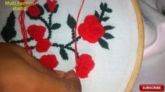 embroidery / Rose flower stitch / Hand embroidery  / hand work Rose Embroidery, Embroidery Designs, Beautiful Roses, Applique, Stitch, Places, Flowers, Full Stop, Royal Icing Flowers