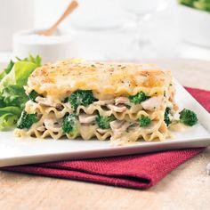 Lasagne au poulet et brocoli.