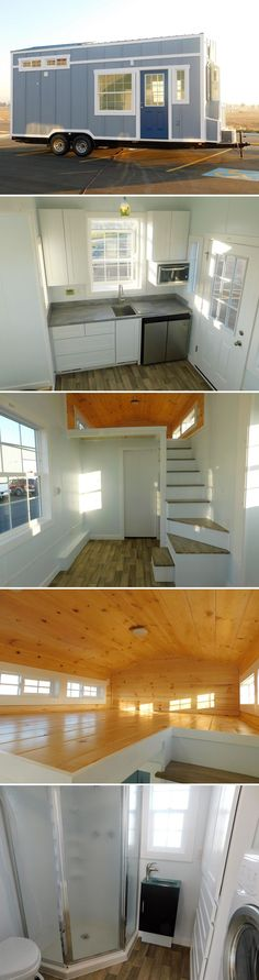 A 22' RVIA certified tiny house with a 5-foot slide out to increase the size of the living room. Mix of white painted and natural pine interior walls.