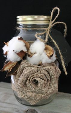 Cotton Boll Wedding Jars, Mason Jar Centerpiece, Natural Cotton Bolls, Burlap Lace Wrap, Rustic Wedding, Country Wedding Decor, Shabby Chic