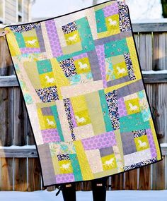 Wonky Log Cabin Quilt Pattern   FaveQuilts.com