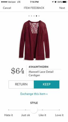 StitchFix 10/30/17....I love the color and lace accents! If it isn't acrylic, I would try it. It looks like a heavier weight sweater, and I normally go for lighter weights.