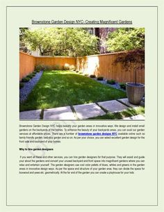 Brownstone Garden Design NYC helps beautify your garden areas in innovative ways. We design and install small gardens on the backyards of the homes. Garden Landscape Design, Garden Landscaping, Green Stone, Small Gardens, Nyc, Backyard, Exterior, Outdoor Decor, Home Decor
