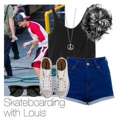 """Skateboarding with Louis"" by style-with-one-direction ❤ liked on Polyvore"