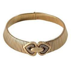 1984 Bulgari Diamond Gold Tubogas Choker Necklace