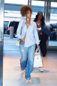 Rihanna's barely buttoned button-down and jeans. See 5 other celebrities whose summer style killed it.