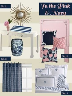pink & navy bedroom, I love these colors together.