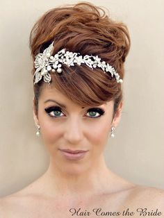 "Hair Comes the Bride - Rhinestone Flower Bridal Headband ~ ""Serena"" with Pearl, $132.00 (http://www.haircomesthebride.com/rhinestone-flower-bridal-headband-serena-with-pearl/)"