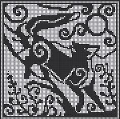 90 x 90 stitches chart suitable for crochet colourwork, tapestry crochet, cross stitch and filet crochet.