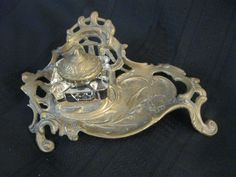 Art Nouveau style metal and glass inkwell