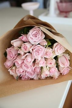 Picture-perfect soft pink roses make a beautiful gift for the lovely lady in your life. Wife, mother, daughter or sweetheart, she's sure to cherish this bouquet of pastel pink roses accented with seeded eucalyptus and arranged in a clear glass vase. My Flower, Pretty Flowers, Pretty In Pink, Pink Flowers, Fresh Flowers, Flower Wrap, Bright Flowers, Perfect Pink, Amazing Flowers