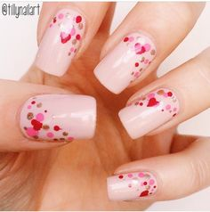 Nude nails with pink and red dots & hearts