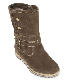 Look what I found on #zulily! Brown Powder Faux Fur Suede Cold Weather Boot #zulilyfinds