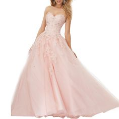 ebd426c33ae Beauty Bridal Girls Sweetheart Lace with Tulle Ball Gown Beads Prom Quinceanera  Dress 4Blush  gt