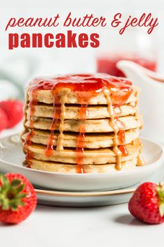 Peanut Butter and Jelly Pancakes…The favorite, classic sandwich turned into a breakfast treat. Heat your favorite type of jelly in the microwave to create a quick fruity syrup to pour over these peanut butter pancakes! Peanut Butter Pancakes, Peanut Butter Recipes, Breakfast Pancakes, No Bake Desserts, Syrup, Jelly, Microwave, Waffles, Sandwiches
