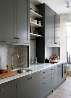 53 Elegant Grey Kitchen Design Ideas for Modern Home Kitchen Craft Cabinets, Farmhouse Kitchen Cabinets, Kitchen Cabinet Design, Storage Cabinets, New Kitchen, Kitchen Interior, Kitchen Ideas, Grey Kitchen Designs, Apartment Design