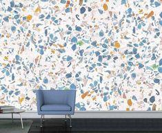 Décoration trompe l'oeil pierre Terrazzo, Poster Xxl, Jungle Bedroom, Habitats, Curtains, Interior Design, Wallpaper, Grand Format, Home Decor