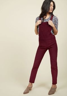 By and Bicycle Overalls. While your destination is your besties flat, your arrival will be eventual, for, first, you must take these burgundy overalls on a scenic cruise through town! #red #modcloth