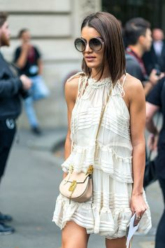 Delicate white dress, nude cross body bag