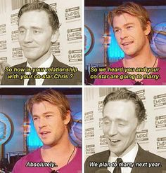 Tom Hiddleston and Chris Hemsworth-- taking class to a whole new level with their comfort :)
