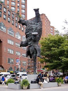 Gran Elefandret, Sculpture of an Elephant Balancing on its Trunk in NYC