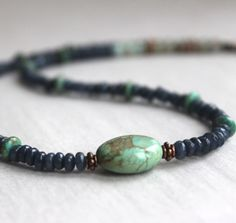 Turquoise and Dark Jade  Gemstone Necklace by StringerBs on Etsy