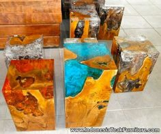 Java Teak Wood and Resin Cube or Bedside Table Epoxy Resin Table, Wood Resin, Resin Art, Rock Crafts, Resin Crafts, Diy And Crafts, Woodworking With Resin, Woodworking Projects, Bedroom Crafts