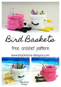 Bird Baskets free crochet pattern from Blackstone Designs #crochet #birds #basket #DIY #flamingo