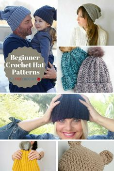 Learn how to make crochet hats with free crochet hat patterns. Keep warm or add a stylish accent with these crochet hat patterns. One Skein Crochet, Ribbed Crochet, All Free Crochet, Crochet Tank, Crochet Round, Crocheted Hats, Crochet Scarves, Double Crochet, Crochet Rug Patterns