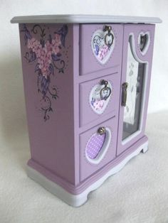 upcycled jewelry boxes | lovely vintage upcycled hand painted lilac and gray fairy jewelry box