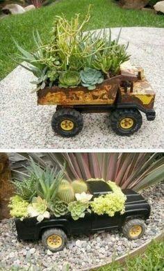 Gotta love little boy toys! Succulents Garden, Garden Planters, Succulent Planters, Recycled Planters, Recycled Toys, Succulent Ideas, Planters Flowers, Fake Flowers, Cheap Planters