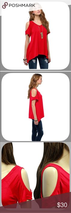 NWT Ooh Lala! Sexy Red Hot Cold Shoulder Top This top I'd gorgeous and sexy! It is a beautiful shade of red! I get lots of compliments when I wear mine! I love it so much! One of my favorite tops! Would look great with skinny jeans! This top is a little bit shorter than the stock pick! Boutique Tops Tees - Short Sleeve