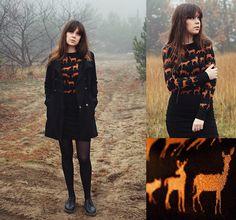 Isabel O - H&M Sweater, H&M Coat, H&M Skirt, Dr. Martens Doc - Oh, deer...