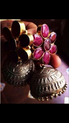 Silver and stones! Silver Jhumkas, Silver Earrings, India Jewelry, Temple Jewellery, Metal Jewelry, Antique Jewelry, Antique Silver, Oxidised Jewellery, Silver Jewellery