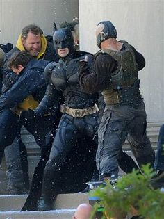 Christian Bale on the set of the Dark Knight Rises in Pittsburgh.