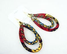Ankara African Hoop Earrings  - OOAK Ankara Earrings - Unique Hoop Tribal Style Jewelry  - Big Earrings - Red, yellow and black by ETurnerCouture on Etsy https://www.etsy.com/listing/234198144/ankara-african-hoop-earrings-ooak-ankara